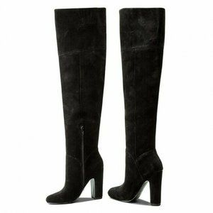 Aldo Maroco Black Over The Knee Suede Boots Womens